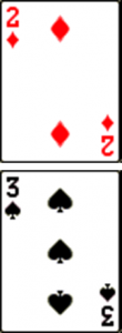 2 of Diamonds, 3 of Spades