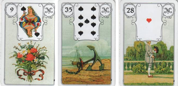 Blaue Eule Lenormand 9 Bouquet - 35 Anchor - 28 Gentleman
