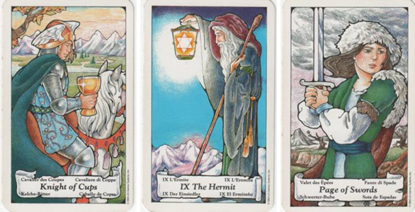 Knight of Cups - IX Hermit - Page of Swords