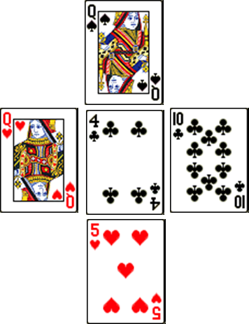 Queen of Hearts - 4 of Clubs - 10 of Clubs - Queen of Spades - 5 of Hearts