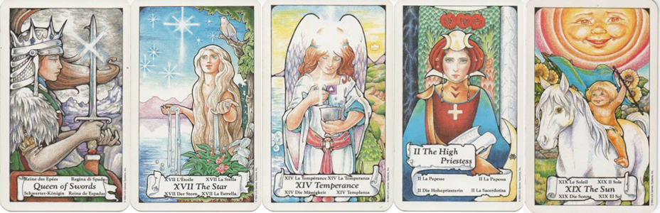 Queen of Swords-XVII-Star-XIV-Temperance-II-High-Priestess-XIX-Sun