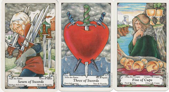 Hanson-Roberts Tarot Deck 7 of Swords - 3 of Swords - 5 of Cups