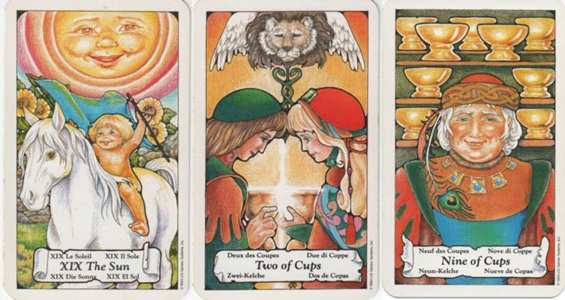 Hanson-Roberts Tarot Deck XIX-The Sun - 2 of Cups - 9 of Cups