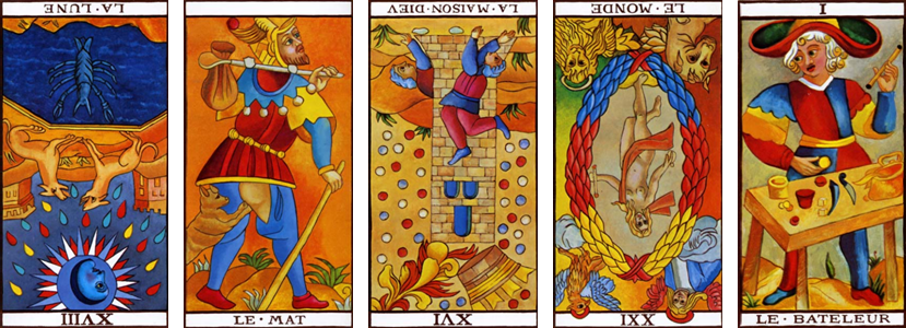 Tarot de Marseille Veil Spread with Extra Positions: XVIII-Moon Rx - 0-Fool - XVI-Tower Rx - XXI-World Rx - I-Magician