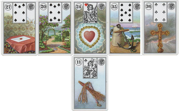 Lenormand Cards Piatnik 27 Letter - 20 Garden - 24 Heart - 35 Anchor - 36 Cross - 11 Whip http://livingwithcards.com