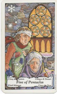 Hanson-Roberts Tarot Deck 5 of Pentacles