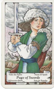 Hanson-Roberts Tarot Deck Page of Swords