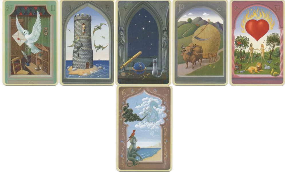 Lenormand Mystical 27 Letter - 19 Tower - 16 Stars - 10 Scythe - 24 Heart - 6 Clouds http://livingwithcards.com