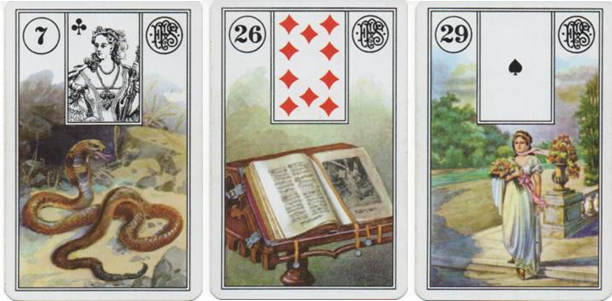 Lenormand Piatnik 7 Snake 26 Book 29 Woman