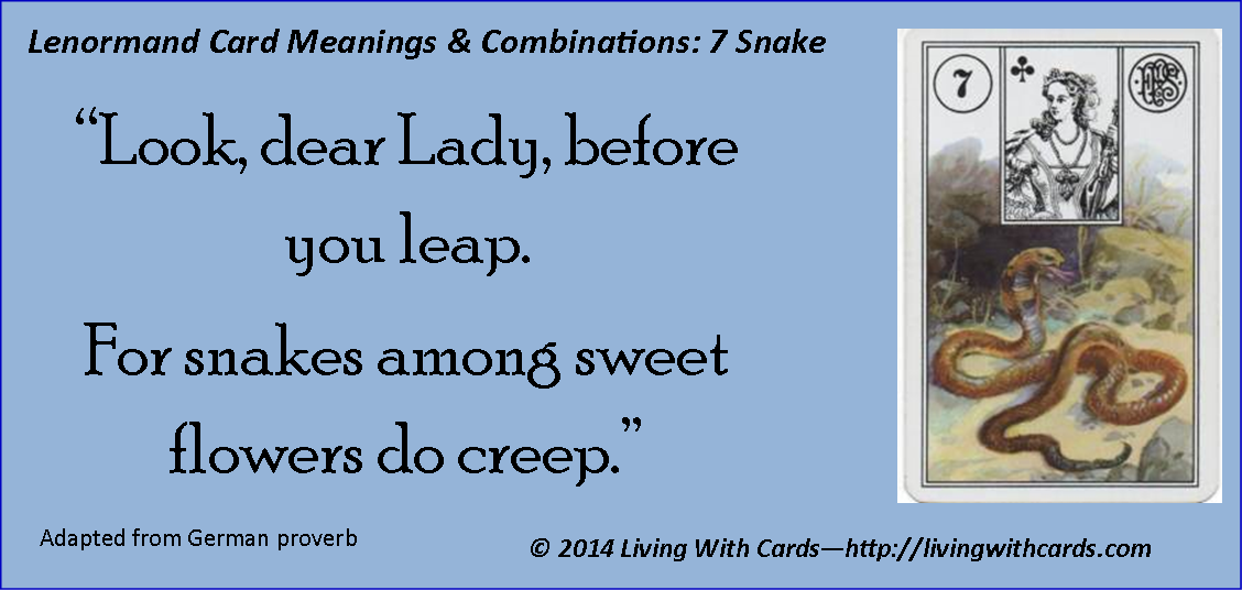 Lenormand 7 Snake meanings and combinations http://livingwithcards.com