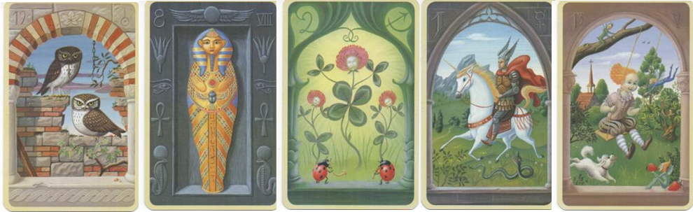 Mystical Lenormand 12 Birds - 8 Coffin - 2 Clover - 1 Rider - 13 Child http://livingwithcards.com