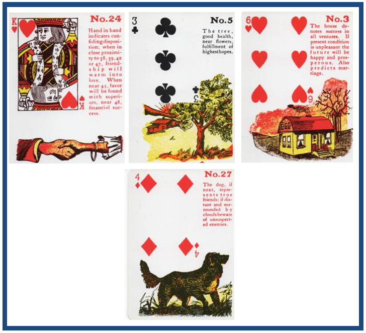 Gypsy Witch Fortune Telling Playing Cards: Hand-in-Hand (King of Hearts), Tree (3 of Clubs), House (6 of Hearts), Dog (4 of Diamonds) http://livingwithcards.com