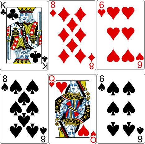 Playing Cards Answer Spread: King of Clubs - 8 of Diamonds - 6 of Hearts - 8 of Spades - Queen of Hearts - 6 of Spades http://livingwithcards.com