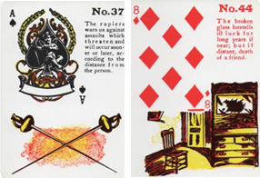 Gypsy Witch Fortune Telling Playing Cards: Ace of Spades - 8 of Diamonds