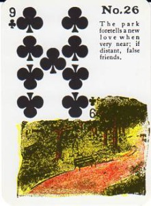 Gypsy Witch Fortune Telling Playing Cards 9 of Clubs - The Park