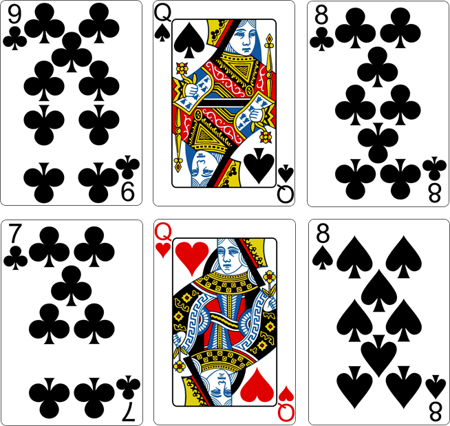 9 of Clubs - Queen of Spades - 8 of Clubs - 7 of Clubs - Queen of Hearts - 8 of Spades