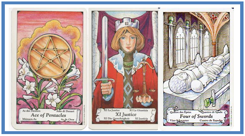 Tarot Clarification Cards: Ace of Pentacles - XI-Justice - 4 of Swords