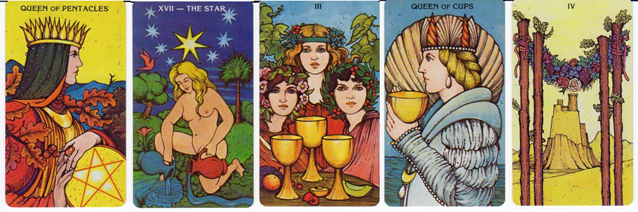 Morgan-Greer Tarot cards: Queen of Pentacles, XVII-The Star, 3 of Cups, Queen of Cups, 4 of Wands
