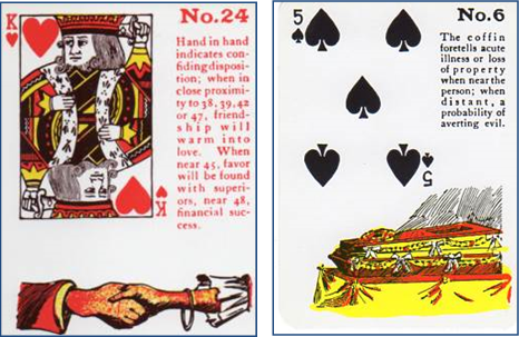 Gypsy Witch Fortune Telling Playing Cards 24 Hand in Hand (King of Hearts and 6 Coffin (5 of Spades)