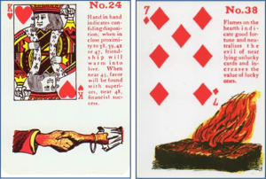 Gypsy Witch Fortune Telling Playing Cards: 24 Hand in Hand (King of Hearts) and 38 Flames (7 of Diamonds)