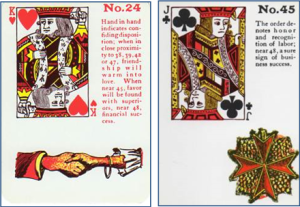 Gypsy Witch Fortune Telling Playing Cards: 24 Hand in Hand (King of Hearts) and 45 Order (Jack of Clubs)