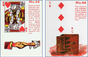Gypsy Witch Fortune Telling Playing Cards: 24 Hand in Hand (King of Hearts) and 48 Money Safe (3 of Diamonds