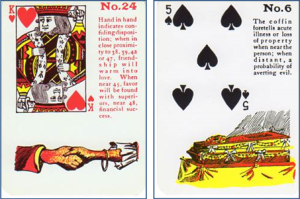 Gypsy Witch Fortune Telling Playing Cards: 24 Hand in Hand (King of Hearts) and 6 Coffin (5 of Spades)