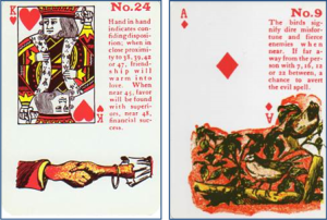 Gypsy Witch Fortune Telling Playing Cards: 24 Hand in Hand (King of Hearts) and 9 Birds (Ace of Diamonds)