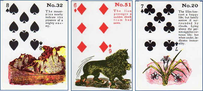 Gypsy Witch Fortune Telling Playing Cards 32 Mountains (8 of Spades), 51 Lion (6 of Diamonds), 20 Lilies (7 of Clubs)