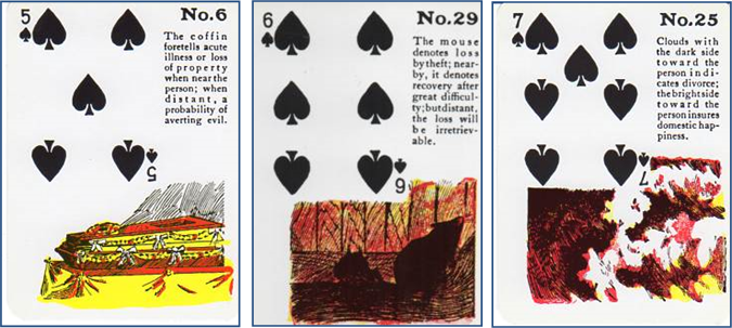 Gypsy Witch Fortune Telling Playing Cards 5 of Spades, 6 of Spades, 7 of Spades