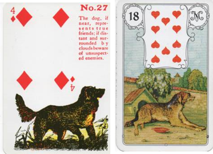 Gypsy Witch 27 Dog (4 of Diamonds) vs Lenormand 18 Dog (10 of Hearts)