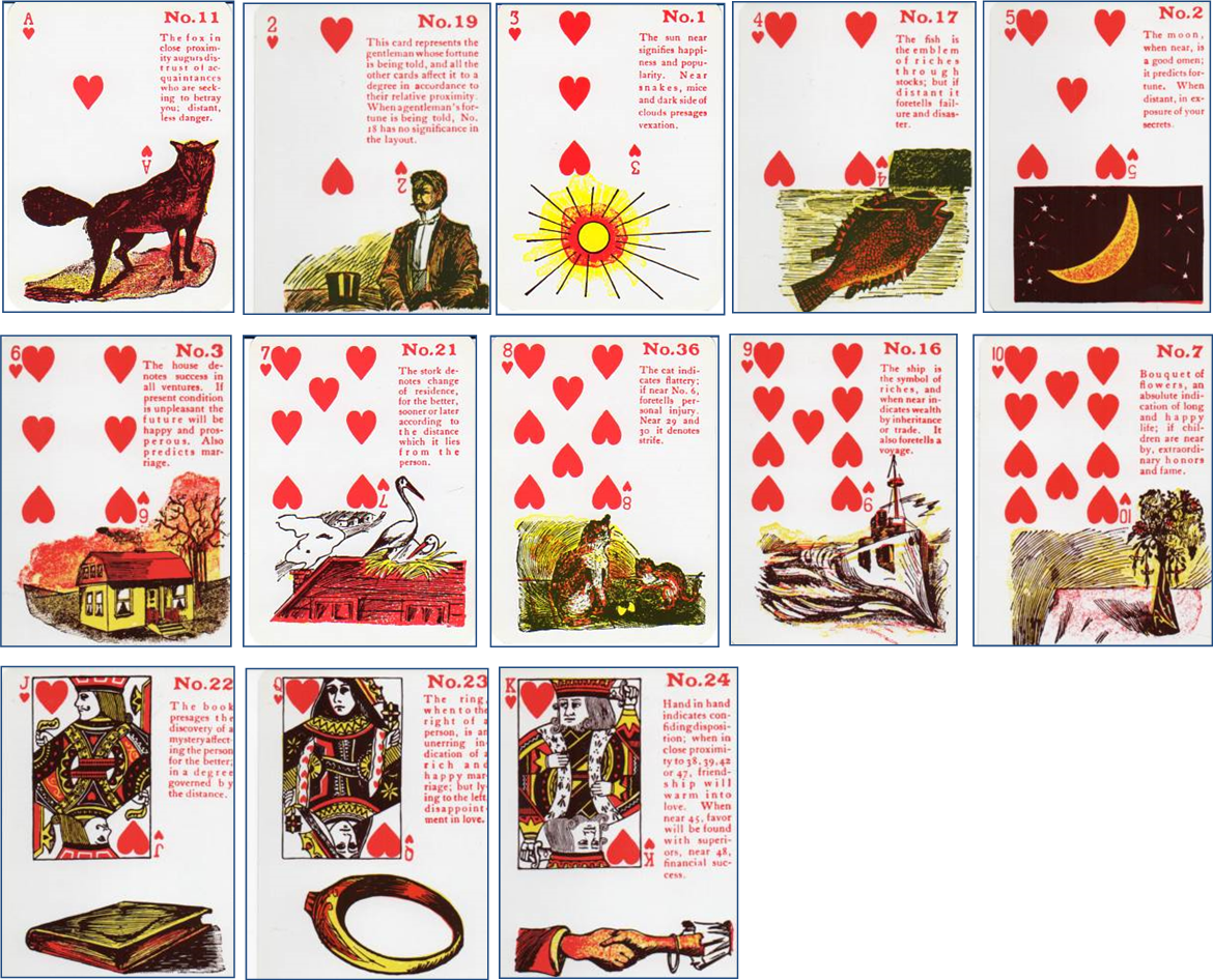 Gypsy Witch Fortune Telling Playing Cards suit of Hearts