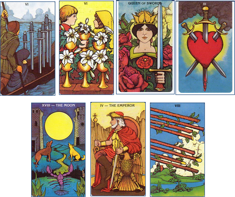 Morgan-Greer Tarot: 6 of Swords - 6 of Cups - Queen of Swords - 3 of Swords - XVIII-The Moon - IV-The Emperor - 8 of Wands