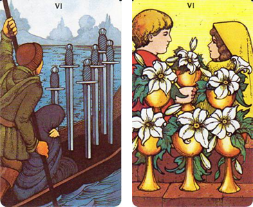 Morgan-Greer Tarot: 6 of Swords - 6 of Cups