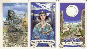 Robin Wood Tarot: 7 of Swords - II-The High Priestess - XVIII-The Moon