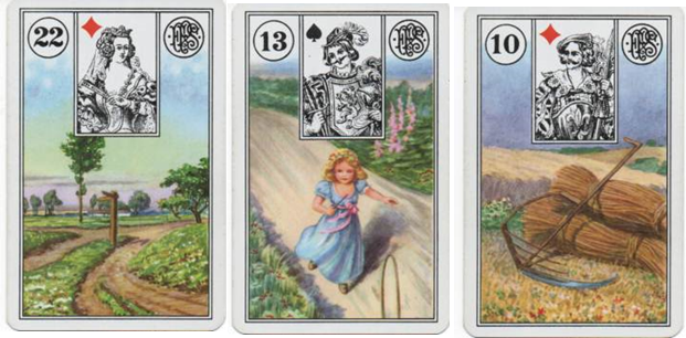 Clarification Cards for Lenormand Square of 9 Spread for Missing Child DeOrr Kunz Jr - 22 Crossroads - 13 Child - 10 Scythe