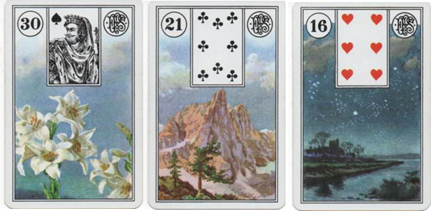 Lenormand Square of 9 for Missing Child DeOrr Kunz Jr. Row 3 - 30 Lilies - 21 Mountain - 16 Stars