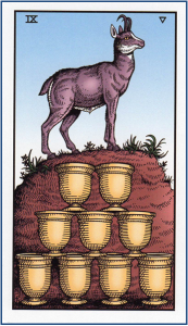 9 of Cups tarot card from The Alchemical Tarot Renewed http://livingwithcards.com