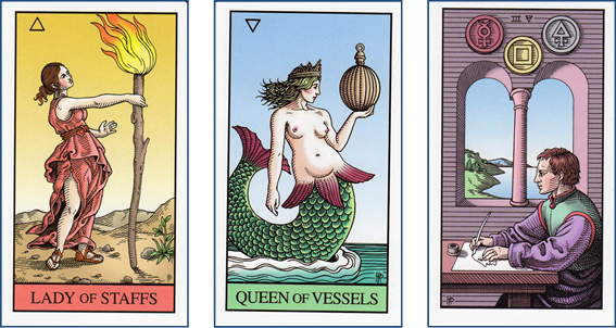 Tarot Wish Spread Positions 2, 3, 4: Page of Wands - Queen of Cups - 3 of Pentacles http://livingwithcards.com