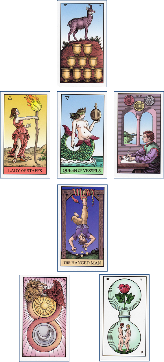 Alchemical Tarot 7 card Wish Spread: 9 of Cups - Page of Wands - Queen of Cups - 3 of Pentacles - XII-The Hanged Man - 2 of Pentacles - 2 of Cups http://livingwithcards.com