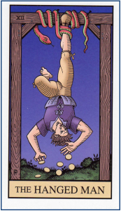 XII-The Hanged Man tarot card from Alchemical Tarot Renewed http://livingwithcards.com