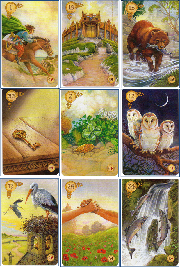 Celtic Lenormand 1 Rider - 19 Tower - 15 Bear - 33 Key - 2 Clover - 12 Birds - 17 Storks - 25 Ring - 34 Fish