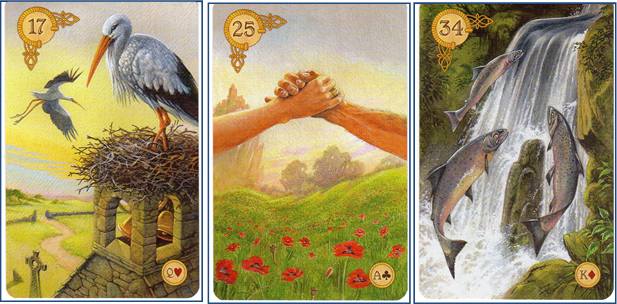 Celtic Lenormand 17 Storks - 25 Ring - 34 Fish