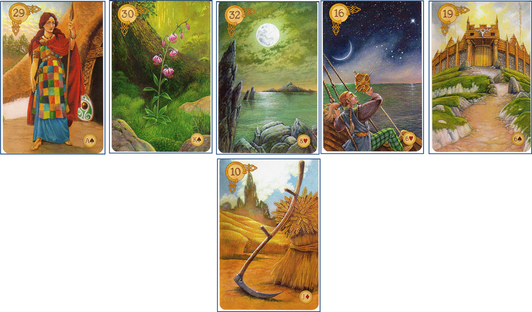 Celtic Lenormand Line of 5: 29 Woman - 30 Lilies - 32 Moon - 16 Stars - 19 Tower - 10 Scythe