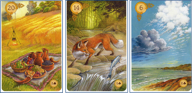 Celtic Lenormand Clarification Cards 20 Garden - 14 Fox - 6 Clouds