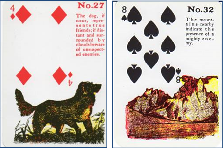 Gypsy Witch Fortune Telling Playing Cards 27 Dog - 32 Mountain http://livingwithcards.com