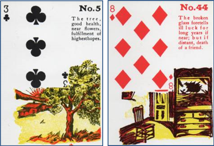 Gypsy Witch Fortune Telling Playing Cards 5 Tree (3 of Clubs) and 44 The Broken Glass (8 of Diamonds) http://livingwithcards.com