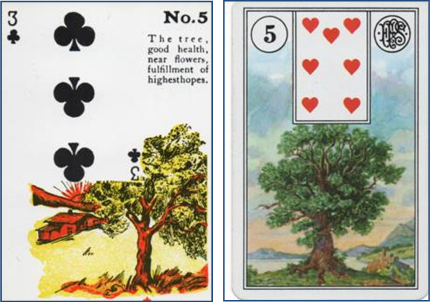 Gypsy Witch Fortune Telling Playing Card 5 Tree (3 of Clubs) compared to Lenormand 5 Tree (7 of Hearts) http://livingwithcards.com