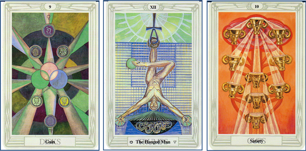 Five Pointed Star Clarification Cards using Thoth Tarot deck: 9 of Disks (9 of Pentacles) - XII-The Hanged Man - 10 of Cups http://livingwithcards.com