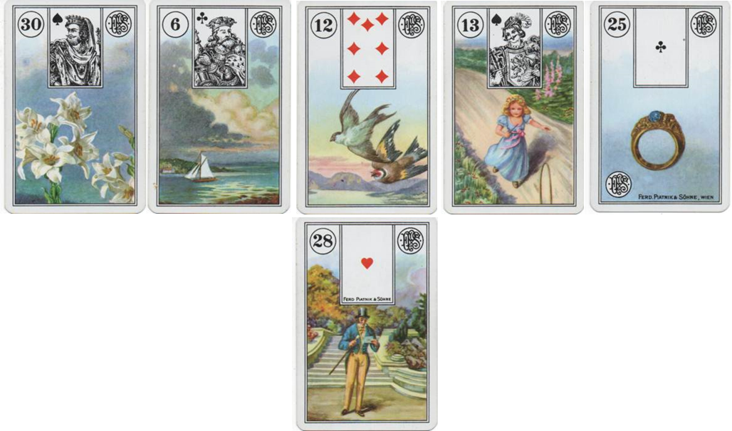 Lenormand Line of 5 with Base Card 30 Lilies - 6 Clouds - 12 Birds - 13 Child - 25 Ring - 28 Gentleman http://livingwithcards.com